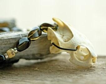 Boho Turtle Skull Necklace - Unisex Tribal Boho Chic Modern Primitive Beaded Gemstone Jewelry OOAK