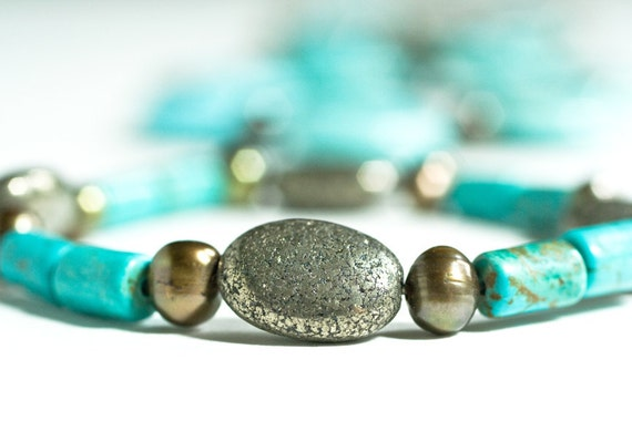 Reserved for Pat - Custom Pyrite and Turquoise Bracelet
