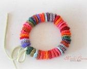 Boho Chic Bracelet - Crochet Bracelet - Colorblock Bracelet - Eco Friendly Bracelet - Hand Sewn Bracelet - Bohemian Bracelet