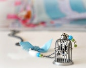 Birdcage Necklace Statement Silver Local Necklace Turquoise Boho Chic Gift For Her Jewelry Fall Fashion Autumn Accessories