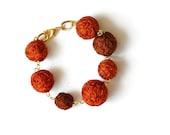 Geometric Bracelet - Burnt Orange Bracelet - Bubble Bracelet - Autumn Gold Bracelet - Boho Bridesmaids Gift - Gifts for Her