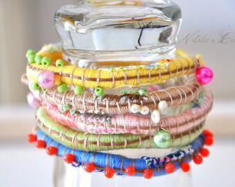 Rope Bracelet Wrap Bracelet Bright Fall Colors Bangle Fiber Art Bangle Boho Chic Bangle Colorful HRand Sewn Jewelry ( Choose 1 Bracelet )