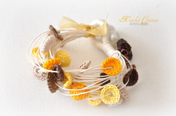 Autumn Crochet Bracelet - Embroidery -  Hand Sewn - Winter Fashion - Eco Friendly Jewelry - Yellow Tulip Garden