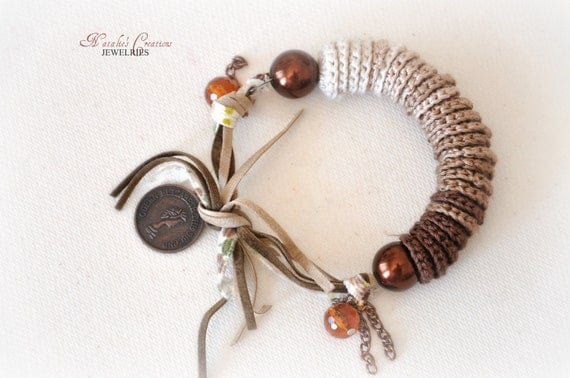 Charm Bracelet Rope Beaded Bracelet Knitted Embroidery Accessories Chocolate Brown Colors Eco Friendly Jewelry