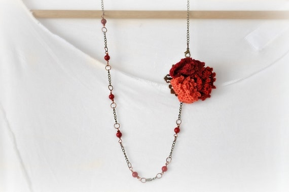 Flower Necklace - Statement Crochet Necklace - Ethnic Red Necklace - Boho Beaded Necklace - Copper Necklace - Valentine Necklace