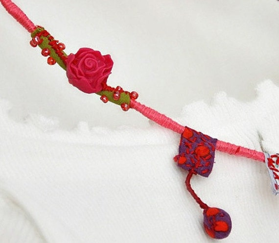 Rope Wrap Fabric Necklacet Necklace Flower Pink Red Eco Friendly Jewelry Colorful Bridesmaid Necklace Recycled Embroidery Jewelry