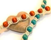 Handmade bracelets, pair of two, turquoise bracelet or brown bracelet, wooden beads, friendship bracelet, wooden bracelet, blue bracelet