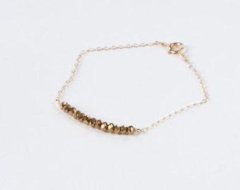SALE-Bronze beaded bracelet