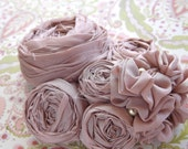Pink Wedding Hair Clip, Rosette Fabric Flower Bridal Hair Clip Photo Prop, Vintage Inspired - Pale Pink Silk with Crystal Beads