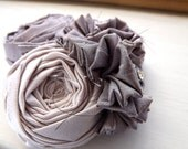 Lavender Bridal Hair Clip,  Rosette Fabric, Flower Hair Clip, Photo Prop, Vintage Inspired - Cream and Lilac Silk with Rhinestone Button