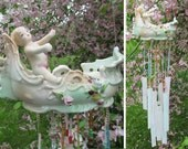 Windchime Antique Porcelain Figurine Stained Glass