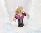 Porcelain Half Dolls Lady in Pink and Black with Hat