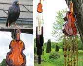 Wind Chime from Vintage Violin Musical Instrument Glass Dish
