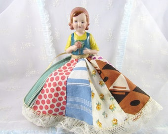 Pincushion Doll in Antique Patchwork Skirt