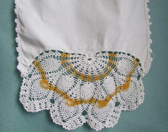 SALE Dresser Scarf Orange and White Crochet Runner Vintage Lace
