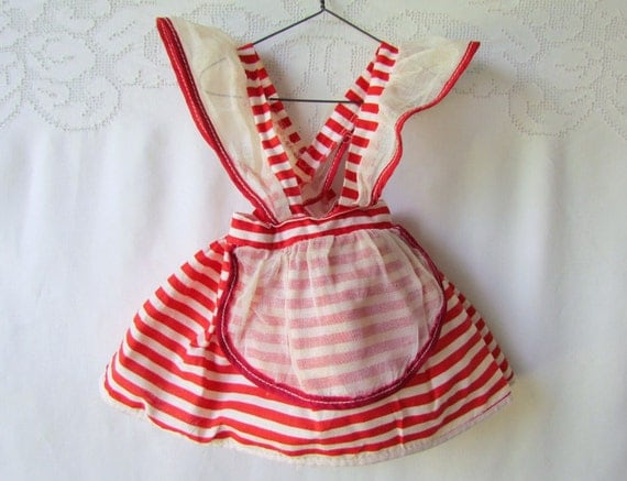 Vintage Doll Dress Pinafore Red and White Stripe 1940's