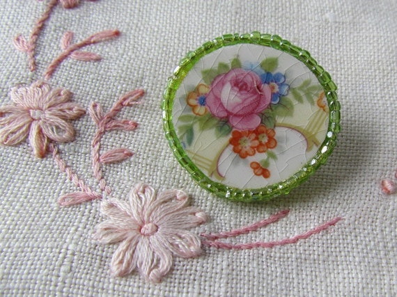 Antique China Brooch Pink Rose Green Antique Beads