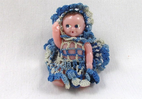 Renwal Dollhouse Baby Doll Signed in Crochet Dress and Bonnet