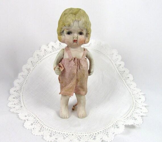 SALE Antique Porcelain Doll Little Girl in Handmade Dress