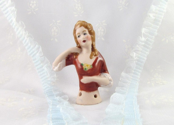 Half Doll or Pincushion Doll Hand Crafted Porcelain