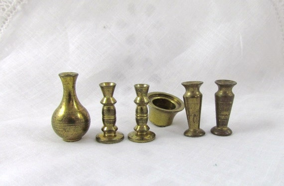 Dollhouse Miniatures Brass Candle Sticks Vases