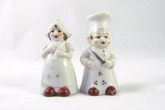 Chef and Cook Antique Salt and Peppers Shakers