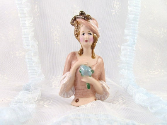 Half Doll for Pin Cushion Victorian Style Lady Porcelain