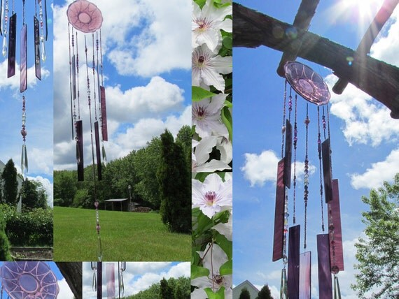 Vintage Wind Chime Purple Plate with Stained Glass