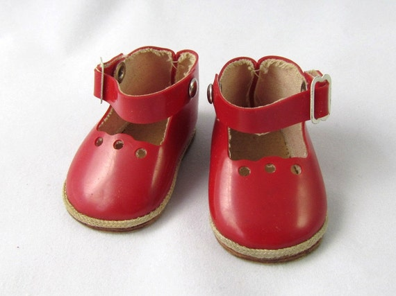 Antique Red Doll Shoes Adorable with Buckle by Chris Doll Shoes Size 3