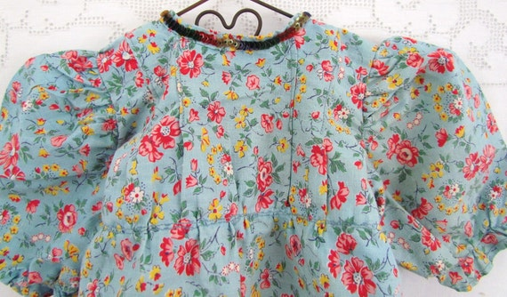 RESERVED 1940's Doll Dress Floral Print Sequins Hand Sewn On Neck Line