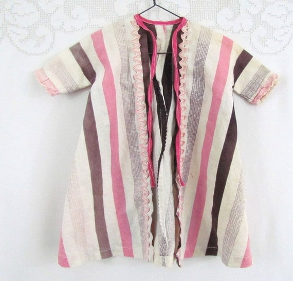 Vintage 50's Doll Robe or House Coat in Pink and Brown Stripe Handmade