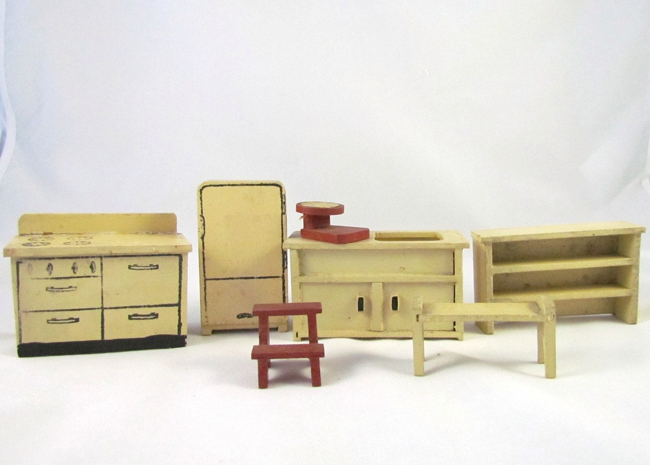 Antique dollhouse furniture kitchen set by vintagepolkadotcom for Furniture kitchen set