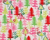 RESERVED for Ashley 3 Yards Michael Miller Christmas Mod Funky Yule Trees Santa Fabric BTY