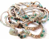 "Crochet wrap bracelet / necklace, beaded, ""sea glass and shells"", aqua, peach, crochet jewelry, bohemian beach wedding, spring fashion"