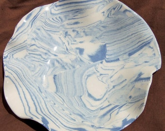 Ceramics and Pottery Bowl - Blue Zebra Stripes - Cobalt Blue and White Marbled Agateware Modern Gift Idea - Handmade Bowl