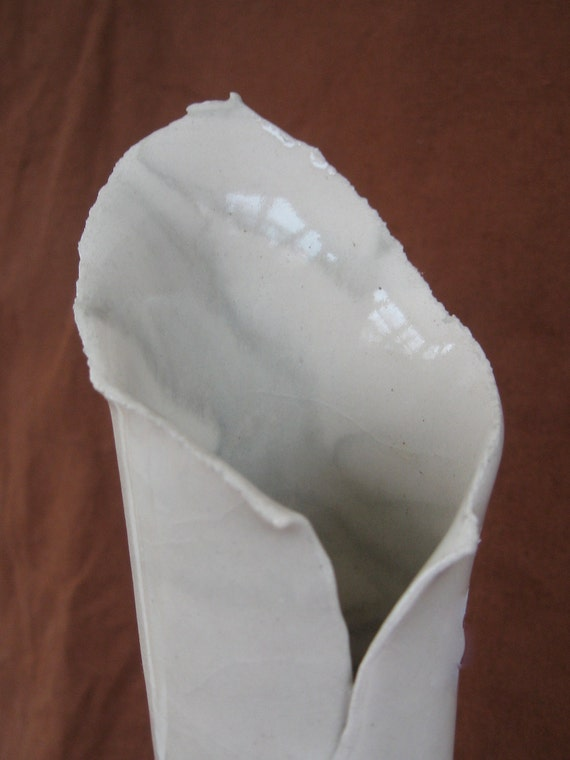 Slab Built Tall Ceramic Vase - Soft Gray and White Marbled Pottery (Agateware)
