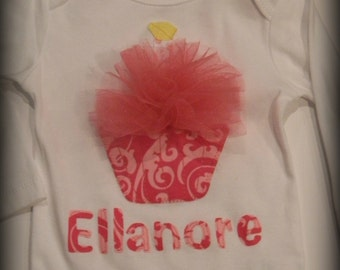 First Birthday cupcake bodysuit...Personalized...Bodysuit and tutu outfit available in separate listing