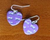Love earrings, purple heart