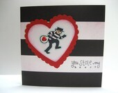 Burglar - You Stole My Heart - Hand Stamped Greeting Card