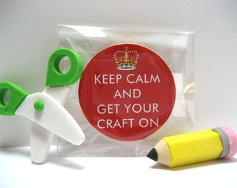 Keep Calm and Get Your Craft On - Funny Wood Magnet