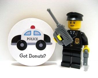 Police Car - Got Donuts - Funny Wood Magnet