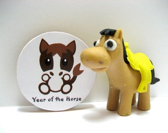 Chinese Zodiac - Year of the Horse - Wood Magnet