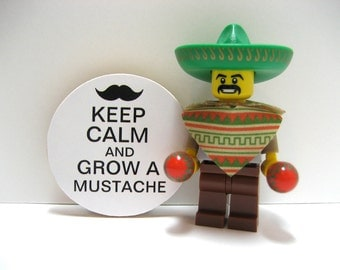 Keep Calm and Grow A  Mustache - Funny Wood Magnet