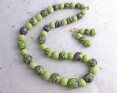 Green and purple ceramic beaded necklace and earring set