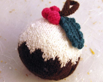 Christmas tree ornament knitted Christmas pudding bauble
