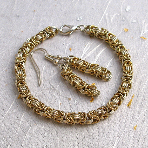 Silver and gold chainmail bracelet and earring set