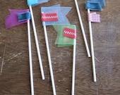 Cake Flags- set of 6 assorted colors & fabrics