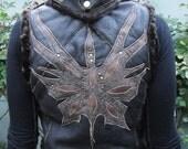 Sheepskin Butterfly vest with detachable hood