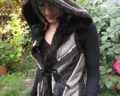 Multicolored Hooded Sheep Leather Arctic Vest