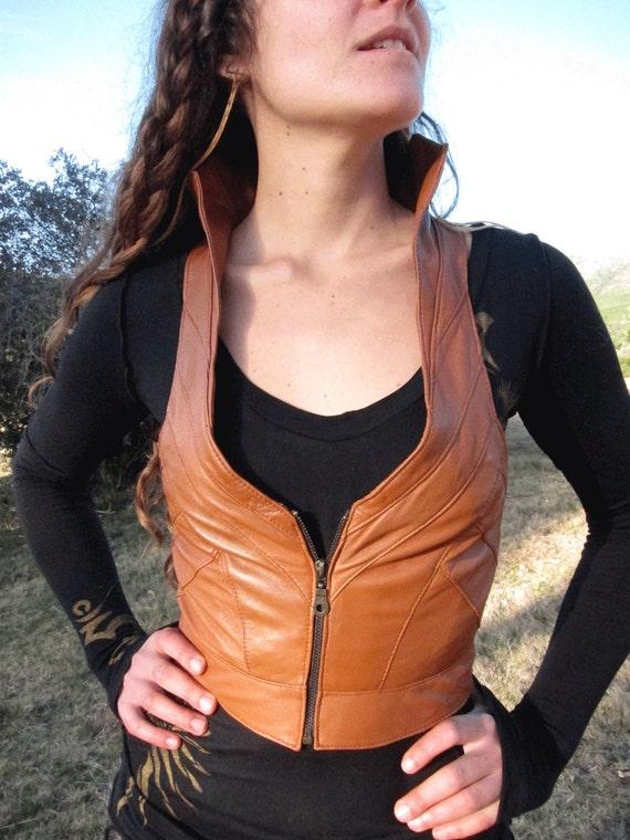 Burnt Orange Leather Zipper Corset vest